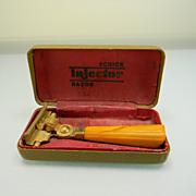 SALE PENDING Vintage Schick Injector Razor with Butterscotch  Swirl Bakelite Handle in Origina