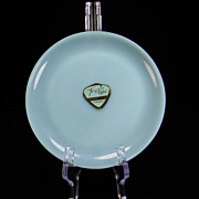 """1950's Hard-To-Find Fire King Turquoise 6 1/8"""" Plate with Original Label"""