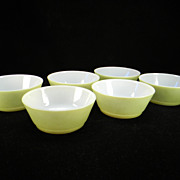 SOLD Six Vintage Fire King Fired-On Green Cereal Bowls