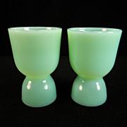 SOLD Two Vintage Fire King Jadite Egg Cups