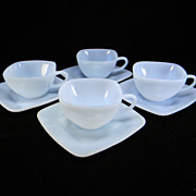 SOLD Four Fie King Azurite Charm Cups & Saucers