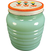 SOLD Fire King Jadite Grease Jar with Tulip Lid