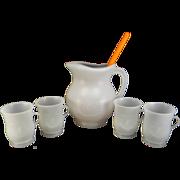 SOLD Vintage White Plastic Kool Aid Pitcher, Mugs, and Spoon Set