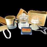 SOLD Vintage 4 Cup Pyrex Flameware Percolator in Original Box