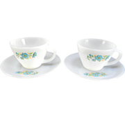 SOLD Two Fire King Premium Bachelors Button/Boutonniere Cups & Saucers