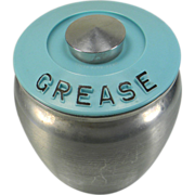 SOLD Vintage 1950's Kromex Spun Aluminum Grease Jar with Turquoise Blue Lid