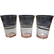 "Three 1930's Pink Roulette ""Many Windows"" Water Tumblers by Hocking Glass"
