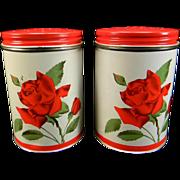 SOLD Vintage Aluminum Salt & Pepper Shakers with Red Rose Motif