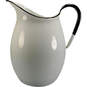 SOLD Large Vintage White Enamel Water Pitcher with Black Trim