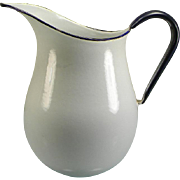 SOLD Large Vintage White Enamel Water Pitcher with Blue Trim & Handle
