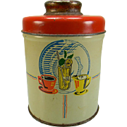Vintage Tea Canister with Colorful Kitchen & Fruit Motif