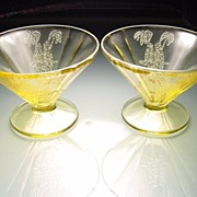 "Two Amber ""Parrot"" Sylvan Sherbets by Federal Glass Company"