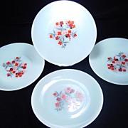 SOLD Four Fire King Primrose Dinner Plates