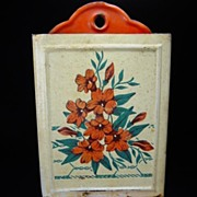 SOLD Vintage White & Red Floral Match Safe