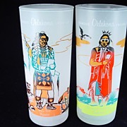 "Two Vintage ""Famous Oklahoma Indians"" Tumblers by Anchor Hocking"