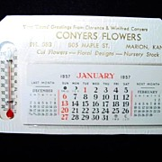 SOLD 1957 Conyers Flowers Desktop Calendar/Thermometer