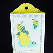 SOLD Vintage Yellow Pear & Blueberries Match Safe