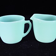SOLD Fire King Turquoise Creamer & Sugar