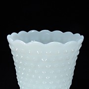 Fire King Milk Glass Hobnail Planter with Scalloped Rim