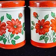 SOLD Vintage Red Floral Salt & Pepper Shakers by Decoware