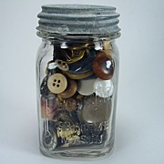 Vintage Square Jar Filled with Colorful Buttons