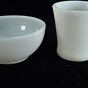Fire King Ivory White Chili Bowl & D Handled Mug