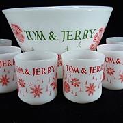 Fire King Tom & Jerry Punch Bowl & Six Mugs