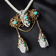 Unusual Victorian Gold Turquoise and carved Tulip Festoon Brooch/ Pendant