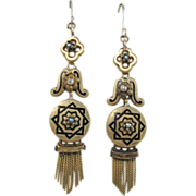 SALE Victorian Gold and Enamel Fringe Earrings with pearls, 16K