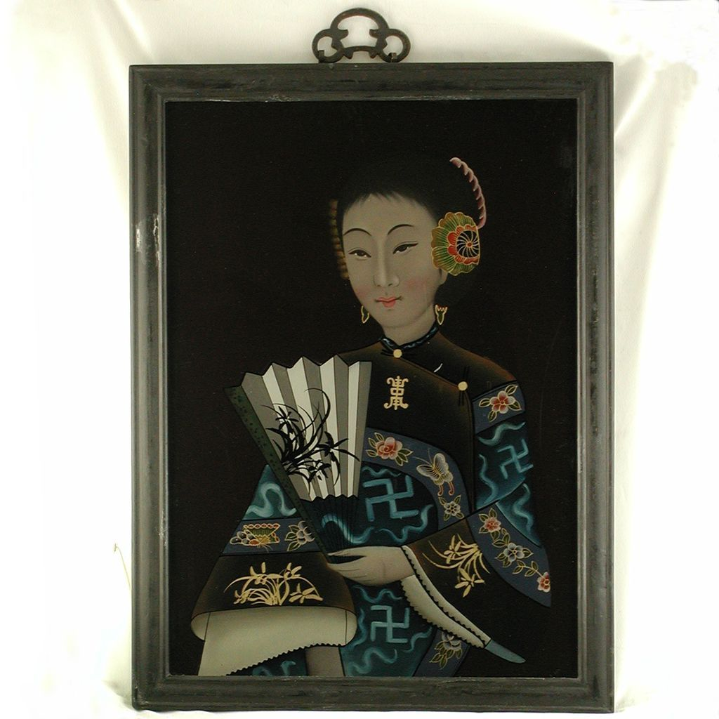 Vintage Chinese Reverse Painting On Glass From Jelitaarts