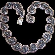 REDUCED Vintage Los Castillo Sterling Silver Spirals Necklace. Design 392