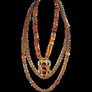 Vintage Lucien Piccard Triple-Strand Necklace
