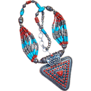 REDUCED Vintage Tibet Nepal Ethnic Tribal Sterling Silver Coral and Turquoise Necklace