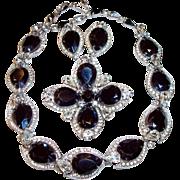 "Vintage KRAMER Black Crystal, Clear Rhinestone Set, Necklace, Earrings, Brooch, ""Diamond"