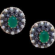 Estate 800 Silver Vermeil Seed Pearl, Rose Cut Diamond & Chalcedony Earrings