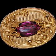 REDUCED Antique Art Nouveau Amethyst Purple Glass Sash Pin Brooch