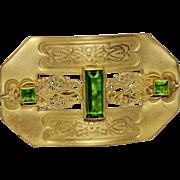 REDUCED Antique Green Peridot Glass Sash Pin Brooch
