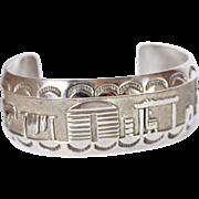 REDUCED Vintage Sterling Navajo Signed Story Teller Cuff Bracelet, Horse, Buildings, 46.8 Gram