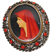 SOLD Vintage 800 Silver Painted Miniature Filigree Pendant Brooch, Coral Glass, Italian, St. F