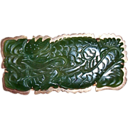 REDUCED Vintage Chinese 14K Carved Green Jade Dragon Brooch Pin