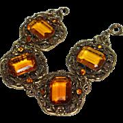 Art Deco Amber Czech Glass Brass Filigree Bracelet
