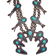 Vintage Pawn Navajo Native American Turquoise & Sterling Silver Squash Blossom Necklace