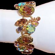 REDUCED Vintage Juliana D&E Molded Givre Glass Topaz Rhinestone Bracelet, Book Piece