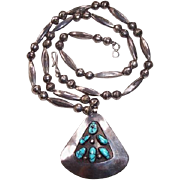 Vintage Navajo Indian Sterling Silver & Turquoise Shadow Box Necklace