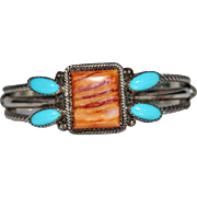 Native American Indian Sterling Silver Spiny Oyster & Sleeping Beauty Turquoise Cuff Bracelet,