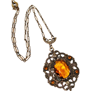 REDUCED Art Deco Brass Filigree Amber Glass Necklace, Paper Clip Chain