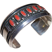 REDUCED Vintage Jackie Singer Native American Navajo Sterling Silver Coral Cuff Bracelet