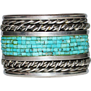 REDUCED Vintage Pawn Native American Turquoise Heishi Bead Corn Row Cuff Bracelet, 127.1 Grams