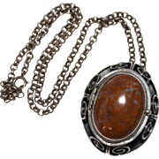 REDUCED Vintage Sterling Mexico Brown Agate Cabochon Locket Pendant Necklace