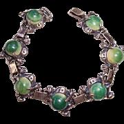 REDUCED Vintage Mexico Sterling Silver Mexican Jade Calcite Frog Link Bracelet – Pre Eagle